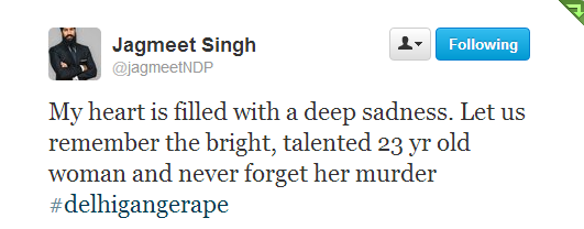 Twitter - jagmeetNDP- My heart is filled with a deep ...