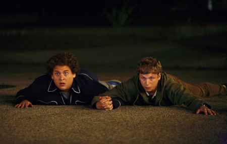 SB-158 : Seth (Jonah Hill, left) and Evan (Michael Cera, right) can have the night theyÕll remember for the rest of their lives in Superbad, the new film from producers Judd Apatow and Shauna Robertson (The 40-Year-Old Virgin), screenwriters Seth Rogen & Evan Goldberg, and director Greg Mottola. Photo Credit : Melissa Moseley.